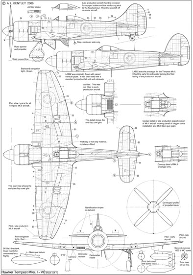 hawker tempest cockpit coloring pages | A. L. BENTLEY DRAWINGS | Hawker Tempest